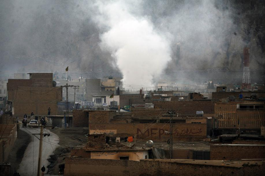 Smoke rose after a bomb attack in a Shiite Muslim area of the Pakistani city of Quetta.